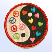Peace and Hearts Yin Yang Patch