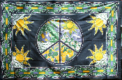 Green Peace Sign Tapestry