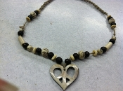 bone peace heart hemp necklace