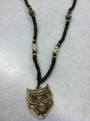 Owl beaded bone necklace