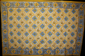 Yellow with Blue Squares Tapestry-Single