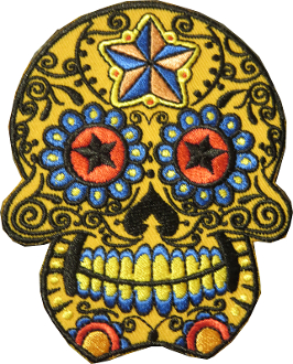 Sugar Skull Patch Yellow with Star Eyes