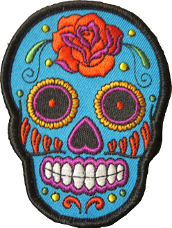 Sugar Skull Patch Blue with Red Rose