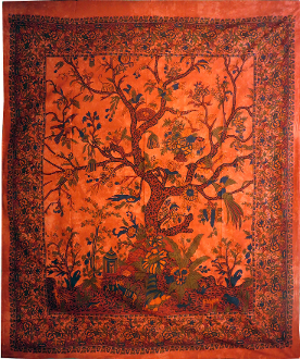Tree of Life Tapestry Orange-Queen