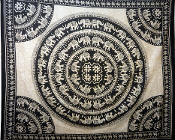 Black and White Circle Elephant Tapestry-Queen