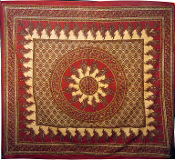 Red Beige Paisley Tapestry-Queen