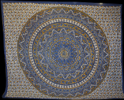 Blue Yellow Mandala Tapestry- Queen