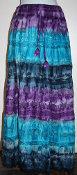 Long Tie Dyed Tiered Skirt