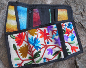 Embroidered Wallet- White/Multi