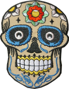 Sugar Skull Patch Beige with Red/White Rose
