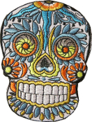 Sugar Skull Patch Blue Orange Yellow