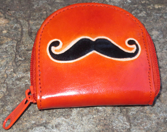 Leather Mustache Zipper Pouch