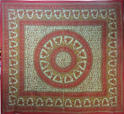 Green and Red Elephant Overdye Tapestry -Queen