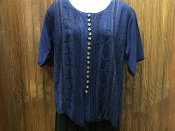 Blue Short Sleeve Blouse with Embroidery and Buttons