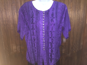 Purple Short Sleeve Blouse with Buttons and Embroidery