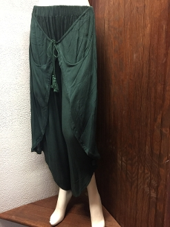 Green Faux Wrap Pants with Pockets