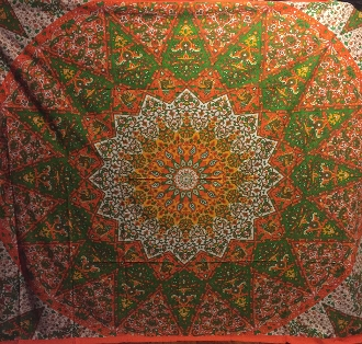 Orange and Green Star Design Tapestry